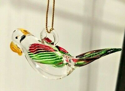 Mexican Hand Blown Glass Ornament Hanging Parrot Bird Art