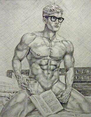 """9/"""" x 12/"""" drawing print nude male with hat on rock gay interest"""