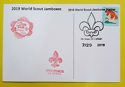 24th world scout jamboree 2019  Postmark on USPS official postcard and BRASIL