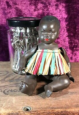 "Antique Black ""Petitcollin"" French Celluloid Doll Elastic Jointed Limbs  5""/13Cm"