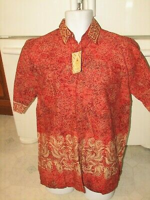 Batik Indonesia Exotic shirt Men's Large  Pria Mitra brand New with tags