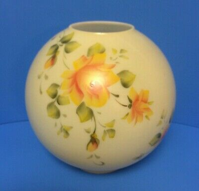 """Vintage Antique 4"""" Fitter Ball Shade Globe GWTW Hand Paint Yellow Rose 8 1/2"""""""