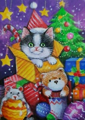 CAT ORIGINAL ACEO Painting Art Decor Bear Mouse Stars Tree Gift Card Christmas