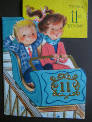 1960s vintage greeting card BIRTHDAY To 11-Yr-Old - Boy & Girl on Roller Coaster