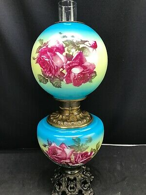 Antique Victorian Banquet Oil Lamp Hand Painted Roses GWTW Gone with the Wind
