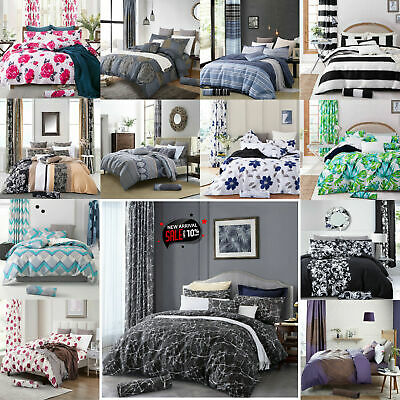 3 Piece Duvet Quilt Cover Bedding Set With Pillowcases Single Double King Size