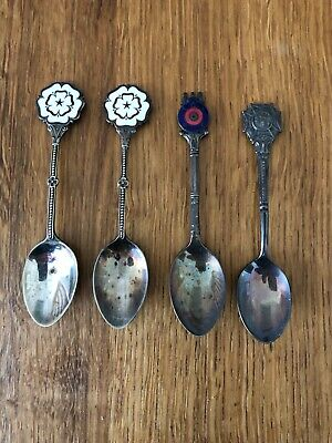 COMMEMORATIVE EPNS SILVER TEA SPOONS - Mixed set of 4 - Needs cleaning