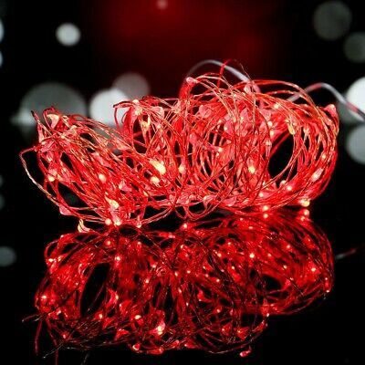 10M 100 LEDs Battery Operated Mini LED Copper Wire String Fairy Lights Decor Red