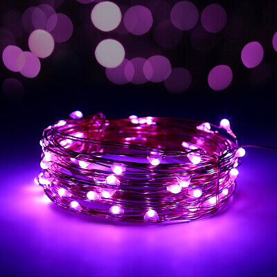 10M Battery Powered 100 LED Fairy String Light Valentine Party Wedding Purple