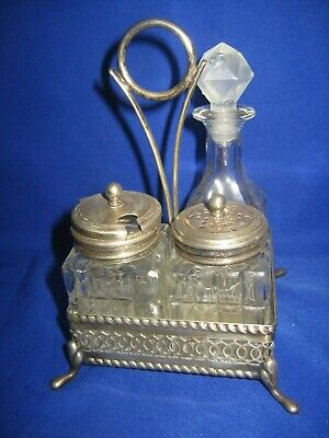 Antique Silver Plated And Cut Glass Cruet Set