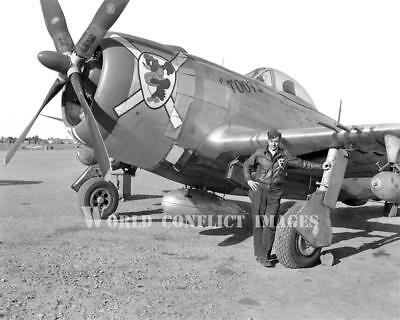 USAAF WW2 P-47 Fighter Toots and Pilot 8x10 Nose Art Photo 57th FG WWII