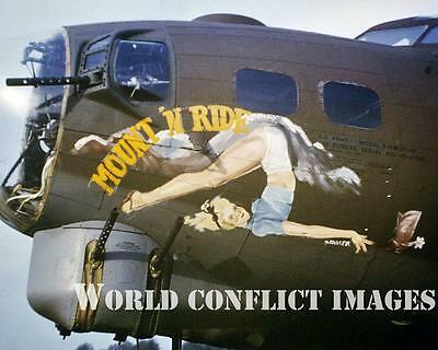 WW2 USAAF B-17 Bomber Mount 'N Ride 8x10 Nose Art Color Photo 91st BG WWII