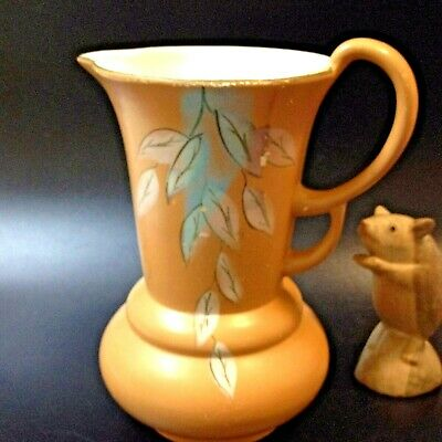 40's Art Deco Cold Hand Painted Ceramic Double Handled Pitcher Vase, Milan