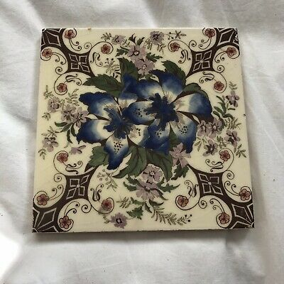Vintage Antique Ceramic Tile - Decorative Floral Pattern Made in England British