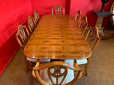 7ft Amazing Designer Art Deco style Burr Yew tree dining table French Polished