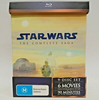 = Blu-Ray = Star Wars = The Complete Saga = 9-Disc Set 6-Movies =Zone B=Like New