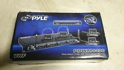 Pyle PDWM4400 Rack Mount 4 Mic VHF Wireless Lavalier Microphone Headset System