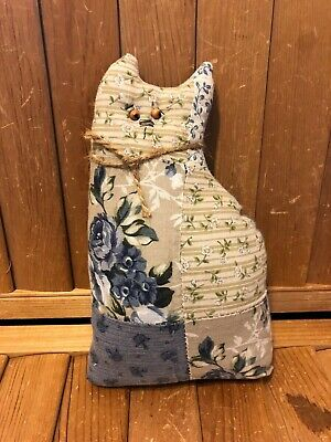 Primitive Quilted Cat Doll  - blue  - hand made - cupboard tuck