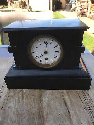 French Black Slate and Marble Mantel Clock c1890
