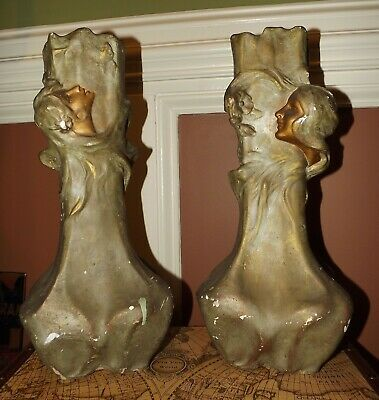 ANTIQUE ART NOUVEAU Era TERRACOTTA LADY BUSTS VASES Matching Pair 16""