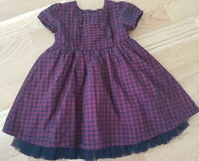 Marks and Spencer M&S 12-18 months Christmas dress checked tartan baby girl red