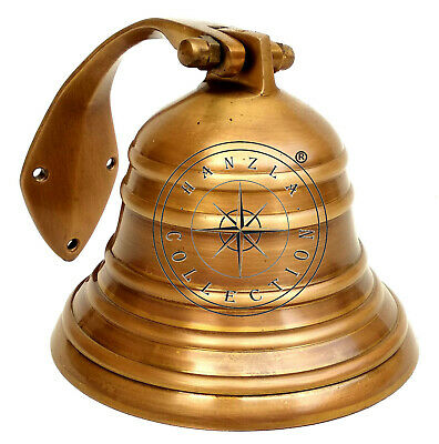 Solid Brass Ship Bell Collectable Wall Mount Bracket Nautical Hanging Home Decor