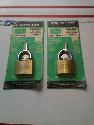 Vintage Brass CRAFTSMAN Padlock with original Key Made in Italy Lot of 2