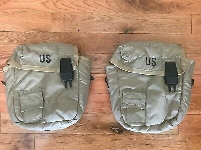 (2) NEW 2QT Collapsible Water Canteen Cover Pouch Desert Tan US Army Military