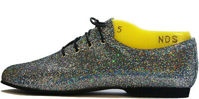 Silver/Black Hologram Glitter Full Suede/Rubber Sole Jazz Shoes