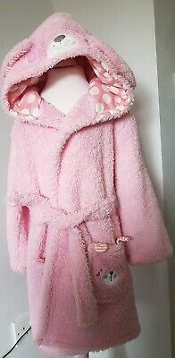 George Girls Super Soft Pink Bunny Hooded  Dressing Gown Age 5-6