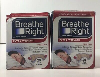 2 Pack Breathe Right Tan Nasal Strips, Drug-Free, 26 Count Each