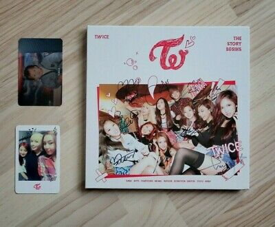 TWICE The Story Begins Signed Album All Members CD MWAVE Photocards