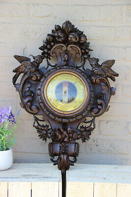 Top antique BLACK FOREST wood carved Wall  barometer with birds rare