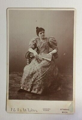 Girl in an Evening Gown, Gloves and Fan  - Michigan - Antique Photo Cabinet Card