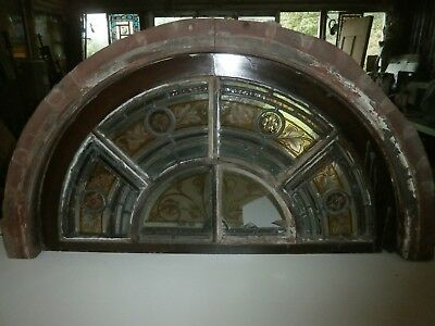 Antique half moon stained glass mahogany window