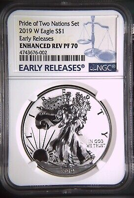 2019 Enhanced Reverse Proof Silver Eagle NGC PF70 Early Releases Blue Label Rare