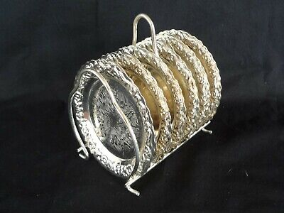 Vintage set of 6 Silver Plated Ornate Round Coasters Drinks Mats and Stand