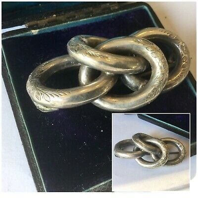 Antique Jewellery Victorian Large Silver Engraved Love Knot Brooch Dress Pin