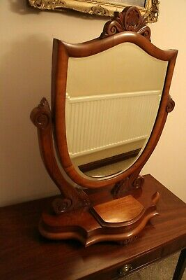 Large Antique mahogany shield  Victorian dressing table - toilet swing mirror