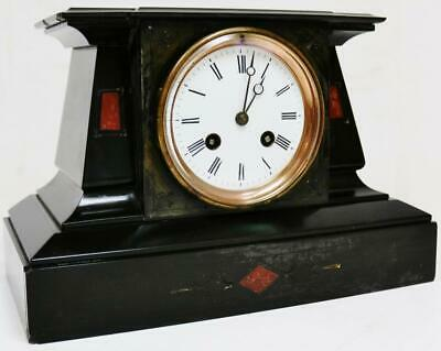 Beautiful Antique French Slate & Red Marble Panel Striking 8 Day Mantel Clock