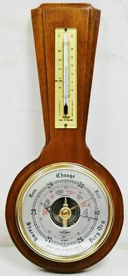 Vintage English Small Proportioned Solid Mahogany Wall Barometer, Thermometer