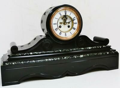 Antique French 8 Day Visible Escapement Slate/Marble Bell Striking Mantel Clock