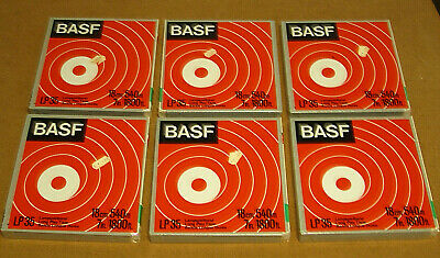 "LOT of 6 NOS NEW SEALED BASF Reel to Reel - LP35 LH HiFi -Tapes 7"" 1800' 1/4"""