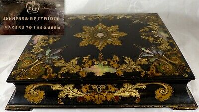 JENNENS & BETTRIDGE Writing Box Papier mache Mother of Pearls 1840-50 Nacre