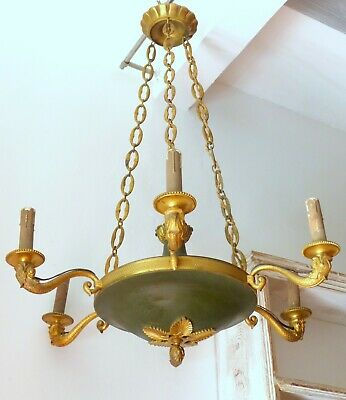 "26"" ANTIQUE French Empire Chandelier RARE Dolphins 6 Litghts Brass & Bronze 1900"