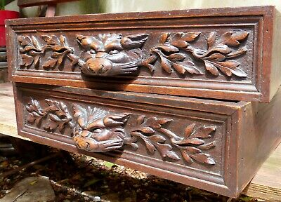19TH PAIR French Antique Carved Architectural Drawer Fronts Panel Gothic Griffin