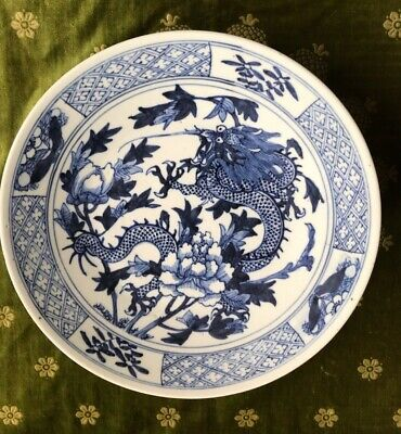 LARGE ANTIQUE 19thC CHINESE BLUE & WHITE CHARGER DISH PLATE FINE DECORATION