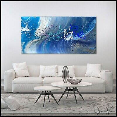 Blue ORIGINAL Modern Canvas Resin Art Abstract Wall Painting Signed US X Willis