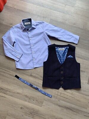 Next Boys Waistcoat Shirt And Bow Tie Outfit Age 4-5