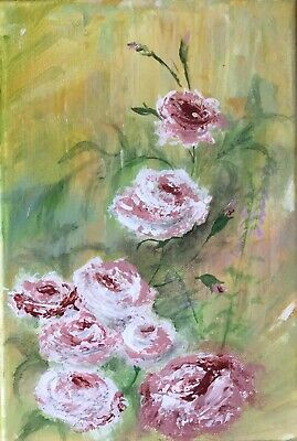 Original artwork flower oil abstract acrylic impressionist canvas painting